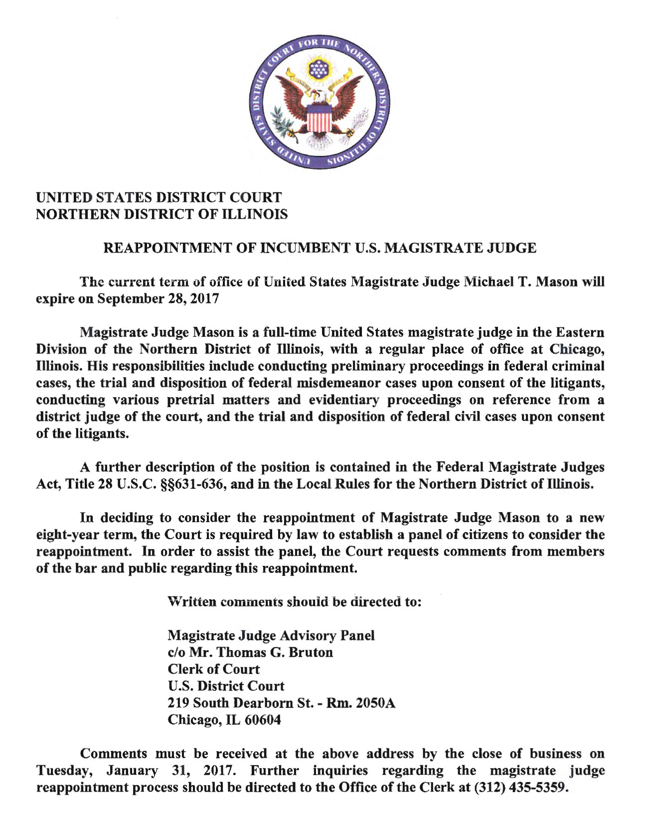 Reappointment of Magistrate Judge Michael P. Mason